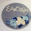 Kék álom, hortenziákkal....- ajtó/fali dísz, Dekoráció, Otthon, lakberendezés, Ajtódísz, kopogtató, Filc virágokkal...  Szereted  a kéket? Hortenzia a kedvenced? Elhozom neked filc virágokkal, rózsákk..., Meska