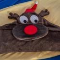 Rudi a rénszarvas gyerektakaró, Baba-mama-gyerek, Gyerekszoba, Falvédő, takaró, Rudi a rénszarvas gyerektakarónk puha flannel fleece anyagból készül, a kapucni belső részén..., Meska