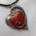 Vörös jáspis medál , Saját tervezésű egyedi kézműves alkotás.  A ...