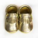 Bőr puhatalpú mokaszin - Arany, Teljesen bőr babacipő, mely ideális a járni ta...