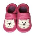 Bőr puhatalpú babacipő - Pink Cicás, Baba-mama-gyerek, Ruha, divat, cipő, Gyerekruha, Baba (0-1év), Varrás, Teljesen bőr babacipő, mely ideális a járni tanuló babáknak, vagy nagyobb gyermekeknek.  15-26-os m..., Meska