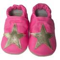 Bőr puhatalpú babacipő - Pink,arany csillaggal, Baba-mama-gyerek, Ruha, divat, cipő, Cipő, papucs, Teljesen bőr babacipő, mely ideális a járni tanuló babáknak, vagy nagyobb gyermekeknek.  15-26-os mé..., Meska