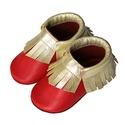 Készleten lévő bőr puhatalpú mokaszin - 20-as méret - Arany/Piros, Baba-mama-gyerek, Ruha, divat, cipő, Cipő, papucs, Teljesen bőr babacipő, mely ideális a járni tanuló babáknak, vagy nagyobb gyermekeknek.  ××× Azonnal..., Meska