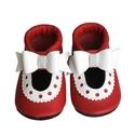 Készleten lévő bőr puhatalpú szandál kislányoknak - 19-es méret - Masnis/Piros/Fehér, Baba-mama-gyerek, Ruha, divat, cipő, Cipő, papucs, Teljesen bőr babacipő, mely ideális a járni tanuló babáknak, vagy nagyobb gyermekeknek.  ××× Azonnal..., Meska