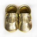Készleten lévő bőr puhatalpú mokaszin - 21-es méret - Arany, Baba-mama-gyerek, Ruha, divat, cipő, Cipő, papucs, Teljesen bőr babacipő, mely ideális a járni tanuló babáknak, vagy nagyobb gyermekeknek.  ××× Azonnal..., Meska