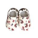 Bézs/Gombás kocsicipő, Baba-mama-gyerek, Ruha, divat, cipő, Cipő, papucs, 16-19-es méretben rendelhetők a cipőcskék, kívül-belül pamutból készülnek, illetve a két réteg közé ..., Meska