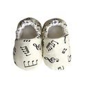 Hangjegyes - Hordozós pamutcipő, Baba-mama-gyerek, Ruha, divat, cipő, Cipő, papucs, 16-19-es méretben rendelhetők a cipőcskék, kívül-belül pamutból készülnek, illetve a két réteg közé ..., Meska
