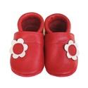Bőr puhatalpú babacipő - Virágos/Piros, Baba-mama-gyerek, Ruha, divat, cipő, Cipő, papucs, Varrás, Teljesen bőr babacipő, mely ideális a járni tanuló babáknak, vagy nagyobb gyermekeknek.  15-26-os m..., Meska