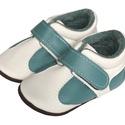 Bőr puhatalpú Sportcipő - bézs/kékeszöld, Baba-mama-gyerek, Ruha, divat, cipő, Cipő, papucs, Megérkezett a  puhatalpú Hopphopp cipőcskék új generációja!  Miért nevezhetjük teljesen új generáció..., Meska