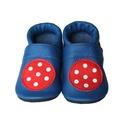 Bőr puhatalpú babacipő - Pöttyös labdás/Kék, Baba-mama-gyerek, Ruha, divat, cipő, Cipő, papucs, Teljesen bőr babacipő, mely ideális a járni tanuló babáknak, vagy nagyobb gyermekeknek.  15-26-os mé..., Meska