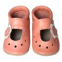 Hopphopp puhatalpú szandál - Virágos/barackrózsaszín, A cipők természetes, puha, minőségi bőrből k...
