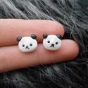 Pandás fülbevaló, Ékszer, Baba-mama-gyerek, Fülbevaló, Gyurma, LEÍRÁS - Egy pár pandás bedugós fülbevaló - Méretek (kb.) 0,9cm x 1,2cm x 0,3cm - Anyag: süthető gy..., Meska