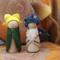 Virágmanó - waldorf inspiráció, A két kis manó alapja kis fa figura. Gyapjúfilc...