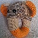 Horgolt elefántos csörgő, Játék, Baba-mama-gyerek, Játékfigura, Gyerekszoba, A saját tervezésű állatfejes csörgő a legkisebbek számára készült. Részletgazdag kidolgozása, kellem..., Meska
