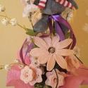 Horgolt ballagási csokor, Dekoráció, Csokor, Ünnepi dekoráció, Horgolással készült virágok díszítik a csokrot. 1 db margaréta és 3 db tölcsérvirág talá..., Meska