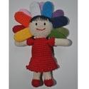 Napsugár baba, Játék, Játékfigura, Napsugár baba  Kedves napsugár baba, piros szoknyás ruhában (nem levehető).  Pamut fonál + pol..., Meska