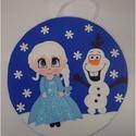 Egyedi Frozen-Jégvarázs gyermekszoba dekoráció, Dekoráció, Otthon, lakberendezés, Baba-mama-gyerek, Gyerekszoba, Mindenmás, Gyermekszoba falára, ajtajára akasztható kedves kis Frozenes dísz. Átmerője 20 cm. Dekorgumiból kés..., Meska