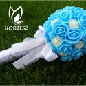Kék gömbcsokor, Dekoráció, Esküvő, Csokor, Esküvői csokor, Ez a mini gömbcsokor koszorúslányoknak tökéletes.   Mérete: kb 24cm magas, 12cm széles , Meska