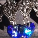 Theodóra császárnő, Ékszer, Esküvő, Fülbevaló, Esküvői ékszer,    Bizánci-as fülbevalóalapon gyönyörű kékes lila színjátszó swarovski kristályok függenek.  Elegáns..., Meska