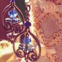 Laguna, Ékszer, Esküvő, Fülbevaló, Esküvői ékszer,   Világos kék csiszolt kristály a fő dísze ennek a szép ékszernek. Két pici kék csiszolt kristály is..., Meska