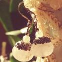 Rózsakvarc álom, Ékszer, Esküvő, Fülbevaló, Esküvői ékszer,   Egy gyönyörű csiszolt rózsakvarc  rondell díszíti a fülbevalót, mérete, 1,00x1,3 0cm. Az ásványon ..., Meska