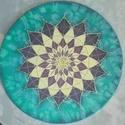 Türkiz, Otthon, lakberendezés, Falikép, Egyedi, saját minta alapján rajzolt, majd festett selyem mandala, átmérője 25 cm, gyárilag kif..., Meska