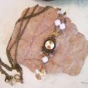 Minimál Barokk  -  nyaklánc, Diszkrét fém medál Swarovski kristályokkal dí...