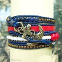 Lapis lazuli tengerész - Tekergesd ! - Wrap karkötő , Ékszer, óra, Karkötő, ''Wrap bracelet' 5 soros tekergetős változata, piros-kék-fehér tengerész színekben.  Ebben a karkötő..., Meska