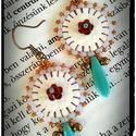 Cukiság On - Vol.3 - Fülbevaló, Ékszer, óra, Fülbevaló, Könnyű, kellemes nyári kiegészítő textilbőr felhasználásával. Közepén egy pici fém virág Swarovskiva..., Meska