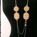 Minimal beige reneszánsz - nyaklánc, Ékszer, Nyaklánc, Kellemes, könnyű, hosszú nyaklánc újrahasznosított textilbőr felhasználásával. Japán gyöngyökkel, st..., Meska