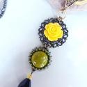 Sárga rózsás  nyaklánc , Minőségi anyagokból összeállított, dekoratí...
