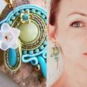 Zöld-kék szemek - sujtás fülbevaló, Ékszer, Fülbevaló, Könnyed, dekoratív fülbevaló sujtás technikával, középen jade kővel. Élénk türkizkék és tompa zöld p..., Meska