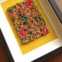 Sárga-korall virágtenger - 3D kép süthető gyurmából (M), Otthon & Lakás, Kép & Falikép, Dekoráció, Gyurma, Festett tárgyak, A kép süthető gyurmából készült, sötétbarna képkeretbe került.  A keret 15x20 cm, elrendezése variá..., Meska