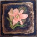 Rózsaszín liliom parafára festve, Képzőművészet, Festészet, Ragyogó színű és hátterű domborított festésű kivételesen akciós áron., Meska