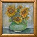 Napraforgók zöld vázában, Képzőművészet, Festészet, 40x40 cm-es vászonkép, keret nélkül 19900 Ft. Nemzetközi művészjegyzékben szereplő alkotó műve., Meska