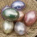 Húsvéti tojás. Aranyfényű mázzal, gyöngypettyekkel díszített műanyag tojás., Húsvéti díszek, Mindenmás, Festett tárgyak, 6 cm-es, a tyúktojás mérete. Húsvéti tojás. Aranyfényű mázzal, gyöngypettyekkel díszített műanyag t..., Meska