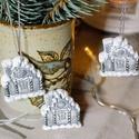 Havas házikó karácsonyi dísz - ezüstszürke, 3 db, Dekoráció, Ünnepi dekoráció, Karácsonyi, adventi apróságok, Karácsonyfadísz, , Meska