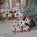 Piros / ezüst strasszos hópelyhek - 3 db, Dekoráció, Ünnepi dekoráció, Karácsonyi, adventi apróságok, Karácsonyfadísz, , Meska
