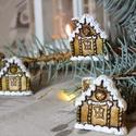 Havas házikó karácsonyi dísz - aranybarna, 3 db, Dekoráció, Ünnepi dekoráció, Karácsonyi, adventi apróságok, Karácsonyfadísz, , Meska