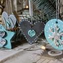 Türkiz / ezüst romantikus, modern stílusú karácsonyi dísz szett - 4 db, Dekoráció, Ünnepi dekoráció, Karácsonyi, adventi apróságok, Karácsonyfadísz, , Meska
