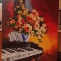 Zongora virágokkal, Képzőművészet, Festmény, Akril, Emil Ciubotaru reprodukció saját elgondolásban.  50*40 cm-es farostra festett akril festékkel., Meska