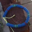 kék ndebele, Ékszer, Mindenmás, Karkötő, Furcsaságok, Ndebele, azaz heringbone technikával készült karkötő, melynek mérete egy csúszó szorítás s..., Meska