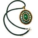 Zöld nyaklánc, smaragdzöld medál, elegáns nyaklánc gyöngyhímzéssel, jáde kő, Ékszer, Nyaklánc, Ékszerkészítés, Hímzés, Elegáns, klasszikus szépség ez a gyöngyhímzéssel készült nyaklánc. A medál közepén egy smaragdzöld ..., Meska