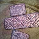 Azték bronzos kollekció, Ékszer, Medál, Fülbevaló, Gyurma, Süthető gyurmából készült ez az azték mintás medál és fülbevaló. méret: 57 x 19,8 mm - medál       ..., Meska