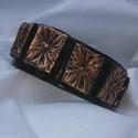 Bronzos karkötő, Ékszer, Karkötő, Gyurma, Ezt a terméket süthető gyurmából készítettem,fekete alapra bronz mintás négyzetek kerültek. A karkö..., Meska