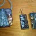 Gleccser medál és fülbevaló, Ékszer, Medál, Amazonittal díszítettem ezt az ékszergyurmából  készített medált és fülbevalót. Külön-k..., Meska