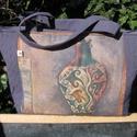 Amforás táska, Táska, Válltáska, oldaltáska, Varrás, Gyönyörű színű, dekorvászonból készült ez a táska. Elől  amfora mintával, hátul különféle indamintá..., Meska