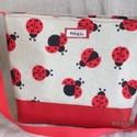 Katicás táska, Táska, Válltáska, oldaltáska, Katicás táska nem csak Katicáknak. Szép ajándék lehet ez a piros műbőrrel kombinált vászon táska. Ci..., Meska