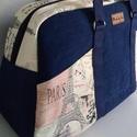 Utazó táska, sport táska, Táska, Válltáska, oldaltáska, Farmerból és pamutvászonból készült merevítővel.  Mérete: 50x18 cm a talpa, magassága: 30 cm Kívül a..., Meska