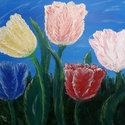 Tulipánok, Otthon & lakás, Képzőművészet, Festmény, Akril, Festészet, 25x30 cm-es feszített vászonra készített akril festmény. Keretezést nem igényel., Meska